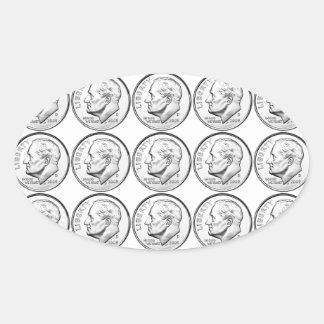 Moneda de diez centavos de Estados Unidos Pegatina Ovalada