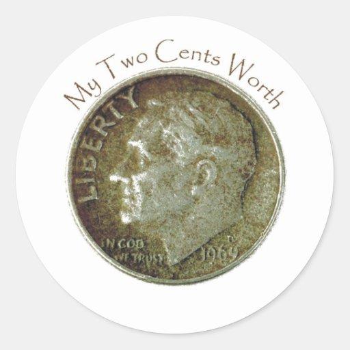 Moneda de diez centavos de la foto etiquetas