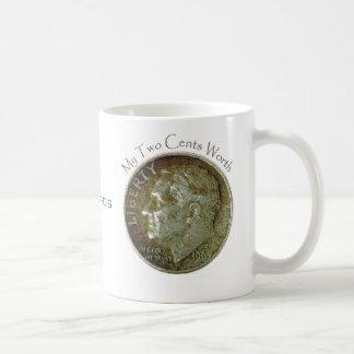 Moneda de diez centavos de la foto tazas