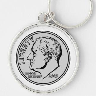 Moneda de diez centavos de los E.E.U.U. diez centa Llavero