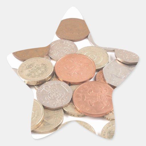 Moneda de libra pegatina en forma de estrella