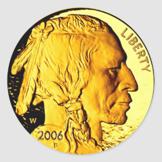 "Moneda de oro $50 3"" pegatinas etiqueta redonda"