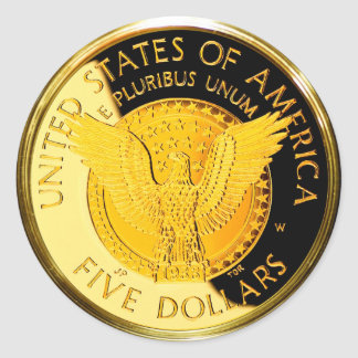 Moneda de oro de $5 FDR (paquete de 6/20) Pegatina Redonda