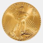 Moneda de oro de la libertad que camina pegatinas