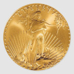 Moneda de oro de la libertad que camina pegatinas redondas