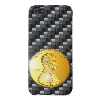 moneda de oro del carbono del caso del iPhone 4 Li iPhone 5 Coberturas