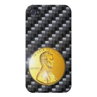 moneda de oro del carbono del caso del iPhone 4 Li iPhone 4/4S Carcasa