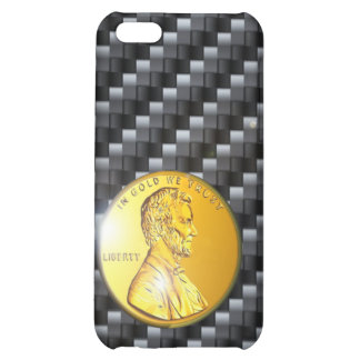 moneda de oro del carbono del caso del iPhone 4 Li