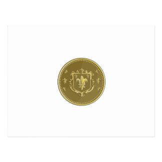 Moneda de oro del escudo de armas de la flor de tarjeta postal