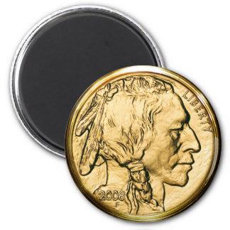 Moneda de oro del nativo americano imán de frigorífico