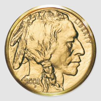 Moneda de oro del nativo americano etiqueta redonda