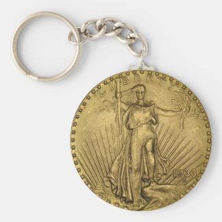 Moneda de oro doble de 1933 Eagle Llavero Redondo Tipo Pin