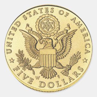 Moneda de oro pegatinas redondas