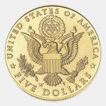 Moneda de oro pegatinas