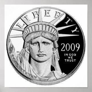 Moneda de prueba del platino de American Eagle Impresiones