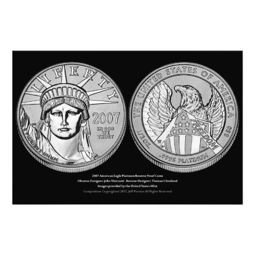 Moneda de prueba del revés del platino de American Fotografias