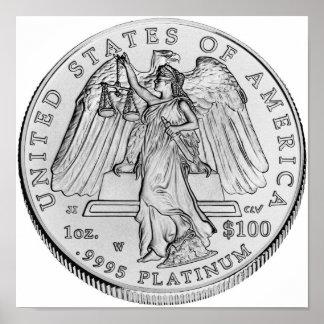 Moneda de Uncirculated del platino de American Eag Impresiones