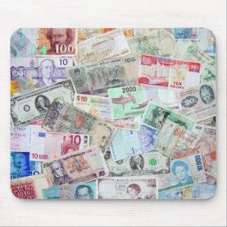 Moneda del cojín de ratón del mundo alfombrilla de ratones