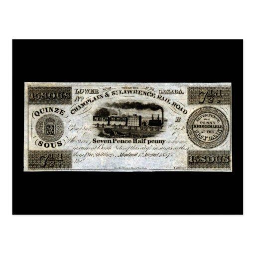 Moneda del ferrocarril de 1837 canadienses tarjeta postal