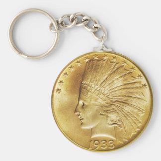 Moneda del indio del oro de diez dólares llavero redondo tipo pin