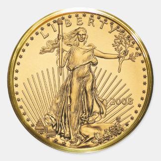 Moneda del lingote de oro de la libertad (paquete pegatinas redondas