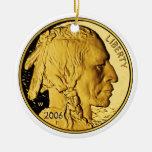 Moneda del lingote de oro de la prueba del búfalo adorno navideño redondo de cerámica