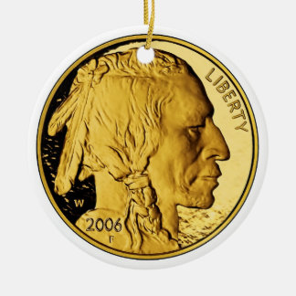 Moneda del lingote de oro de la prueba del búfalo  ornamento de navidad