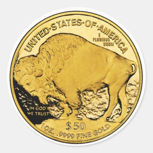 Moneda del lingote de oro de la prueba del búfalo etiqueta redonda