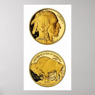 Moneda del lingote de oro de la prueba del búfalo póster