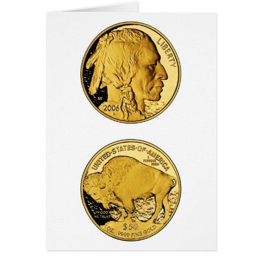 Moneda del lingote de oro de la prueba del búfalo  tarjeta