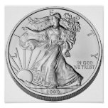 Moneda del lingote de plata de American Eagle Posters