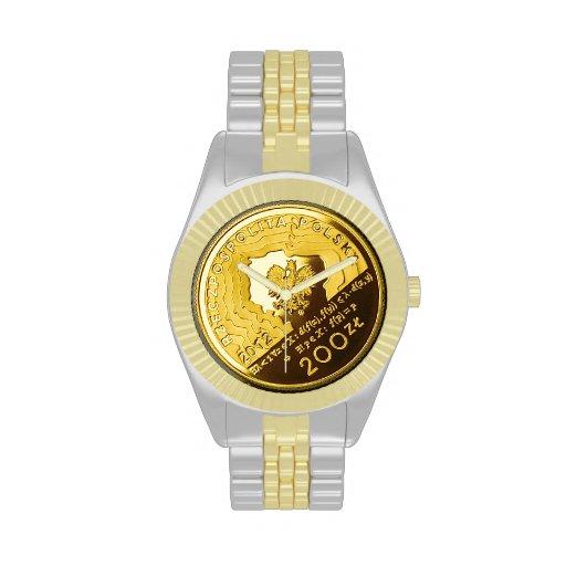 Moneda del zlotych del polaco 200 en el reloj de d