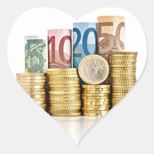moneda euro pegatina de corazon