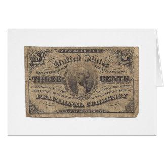 moneda fraccionaria 3-Cent Tarjetón