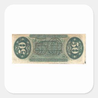 moneda fraccionaria 50-Cent (cuenta del hilandero) Pegatina Cuadrada