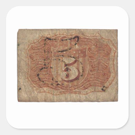 moneda fraccionaria 5-Cent Pegatina Cuadrada