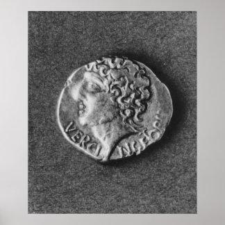 Moneda que lleva la efigie de Vercingetorix Posters
