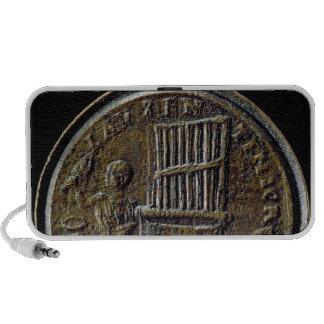 Moneda romana que representa un órgano iPod altavoces