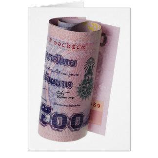 Moneda tailandesa rodada tarjeta de felicitación