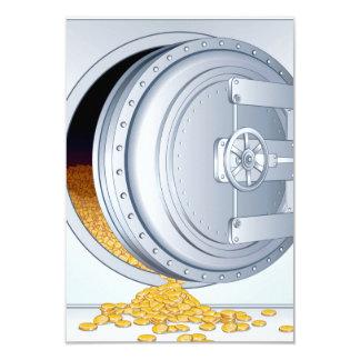 """Monedas de la caja fuerte y de oro invitación 3.5"""" x 5"""""""