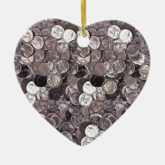 Monedas de níquel gráficas adorno navideño de cerámica en forma de corazón