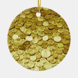 monedas de oro adornos de navidad