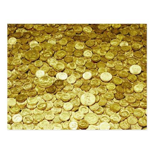 monedas de oro postales