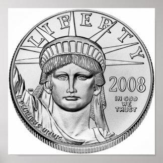 Monedas de prueba del revés del platino de America Poster