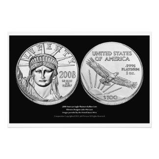 Monedas del lingote del platino de American Eagle Fotografía