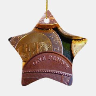 Monedas para la suerte adorno navideño de cerámica en forma de estrella