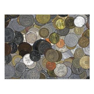 Monedas viejas e internacionales tarjetas postales