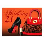 Monedero elegante, tacones altos y cumpleaños del anuncios personalizados