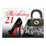 Monedero elegante, tacones altos y cumpleaños del comunicados personalizados