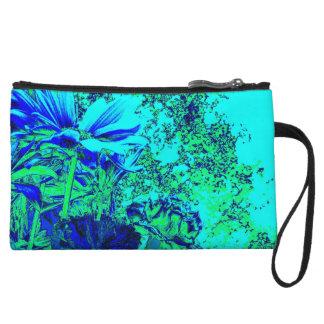 Monedero floral de la experiencia del verde azul